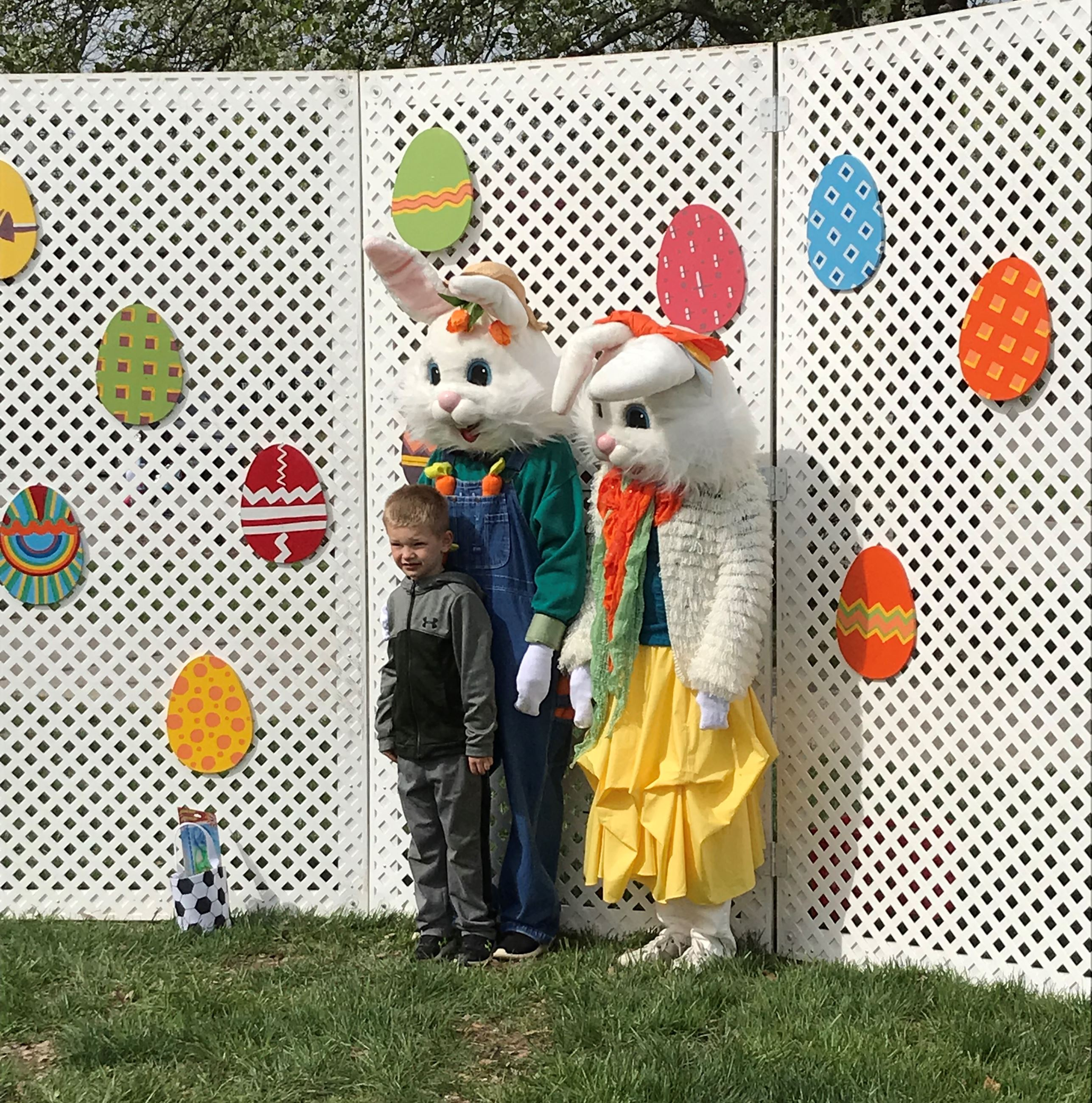 Easter Bunnies and little boy